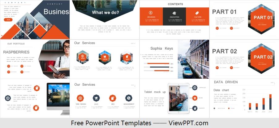Free Orange Business Powerpoint Template