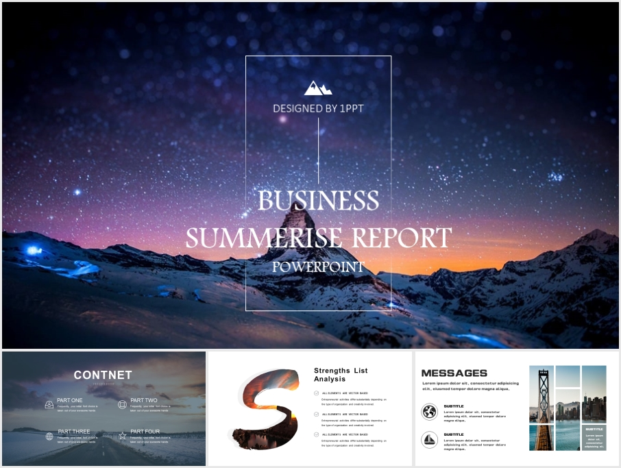 Snow Mountain and Starry Sky PowerPoint Template